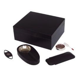 8052 Black Humidor Gift Set SK1107A 1