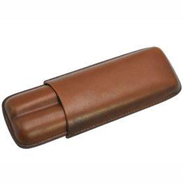 9155 Genuine Leather Cigar 2 tube Holder Closed